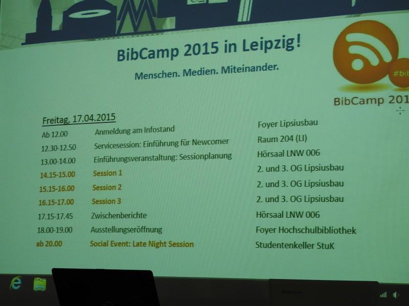 Grobe Tagesplanung des Bibcamp