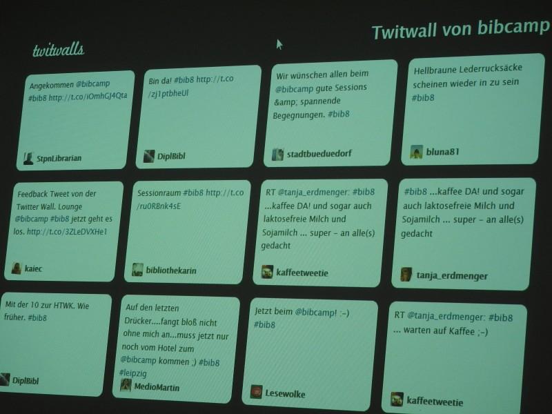 Twitterwall zum Bibcamp