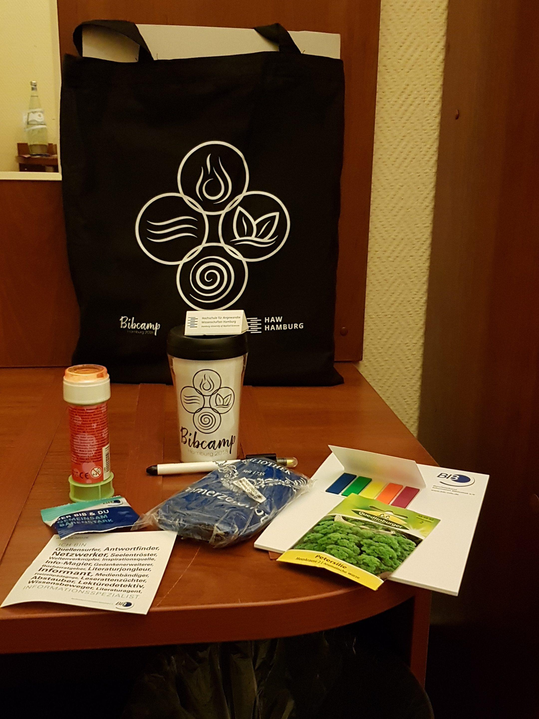 Goodie-Bag des 11. BibCamps, stärker auf Nachhaltigkeit ausgerichtet