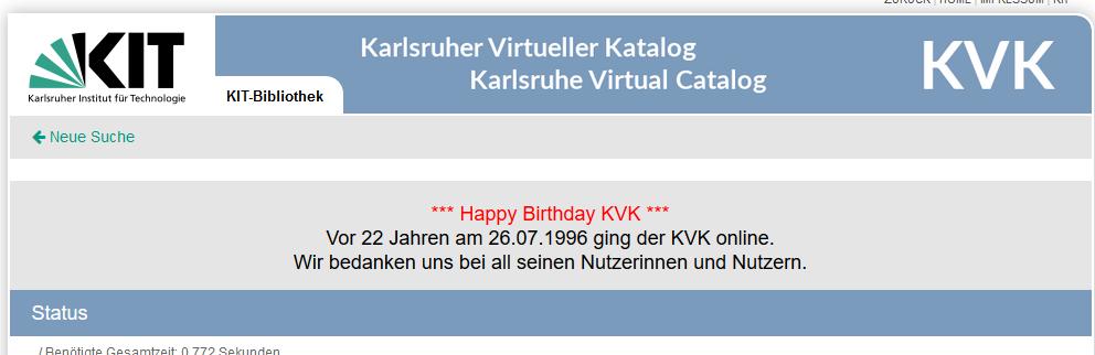 22. Geburtstag des Karlsruher Virtuellen Kataloges (KVK)