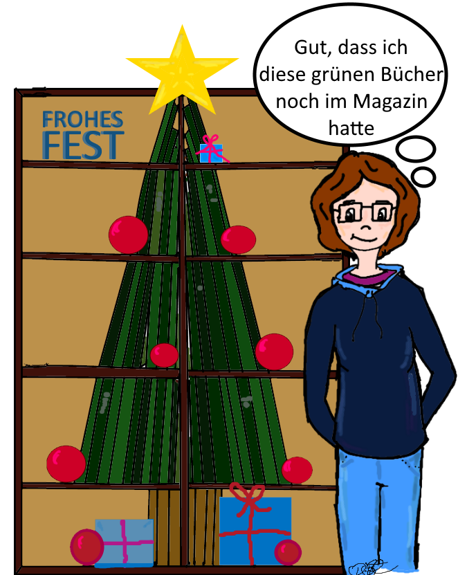 Wozu man grüne Bücher braucht - Weihnachtsbücherbaum