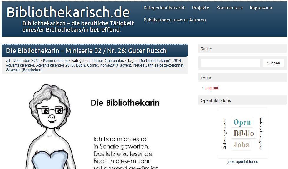Screenshot altes Layout von Bibliothekarisch.de aus dem Jahre 2013