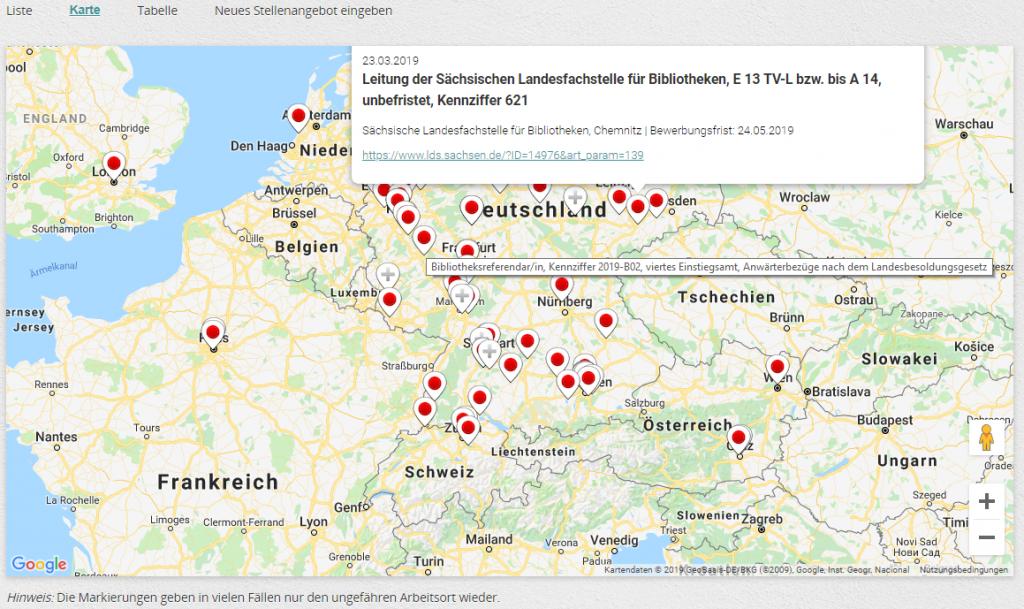 Geografische Anzeige von Stellen bei OBJ