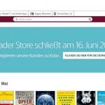 Screenshot Sony's Reader Store mit Schließungsankündigung