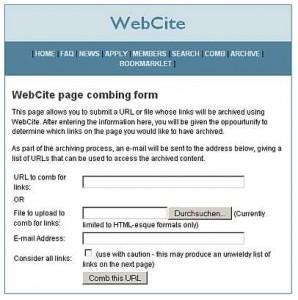 Eintragsseite von WebCite